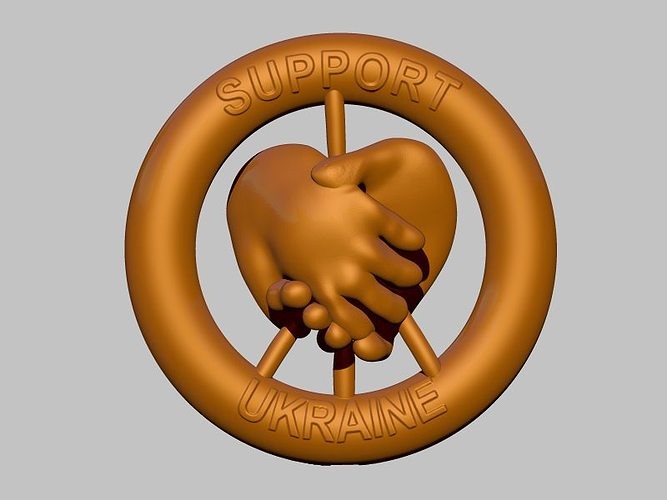ukraine support badge 3d model obj mtl stl 1