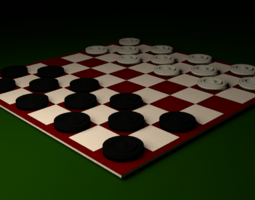 Red White Checker Board 3D asset