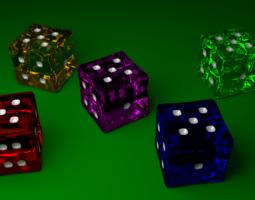 Glass Dice for Yahtzee 3D asset
