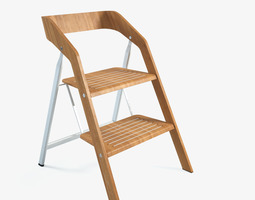 3d vintage usit stepladder chair 2-step version