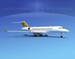 3d bombardier global 5000 v01 rigged