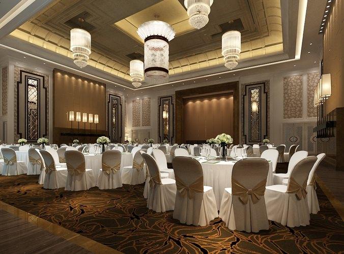 3d Model Bar Counter Modern Banquet Hall Cgtrader