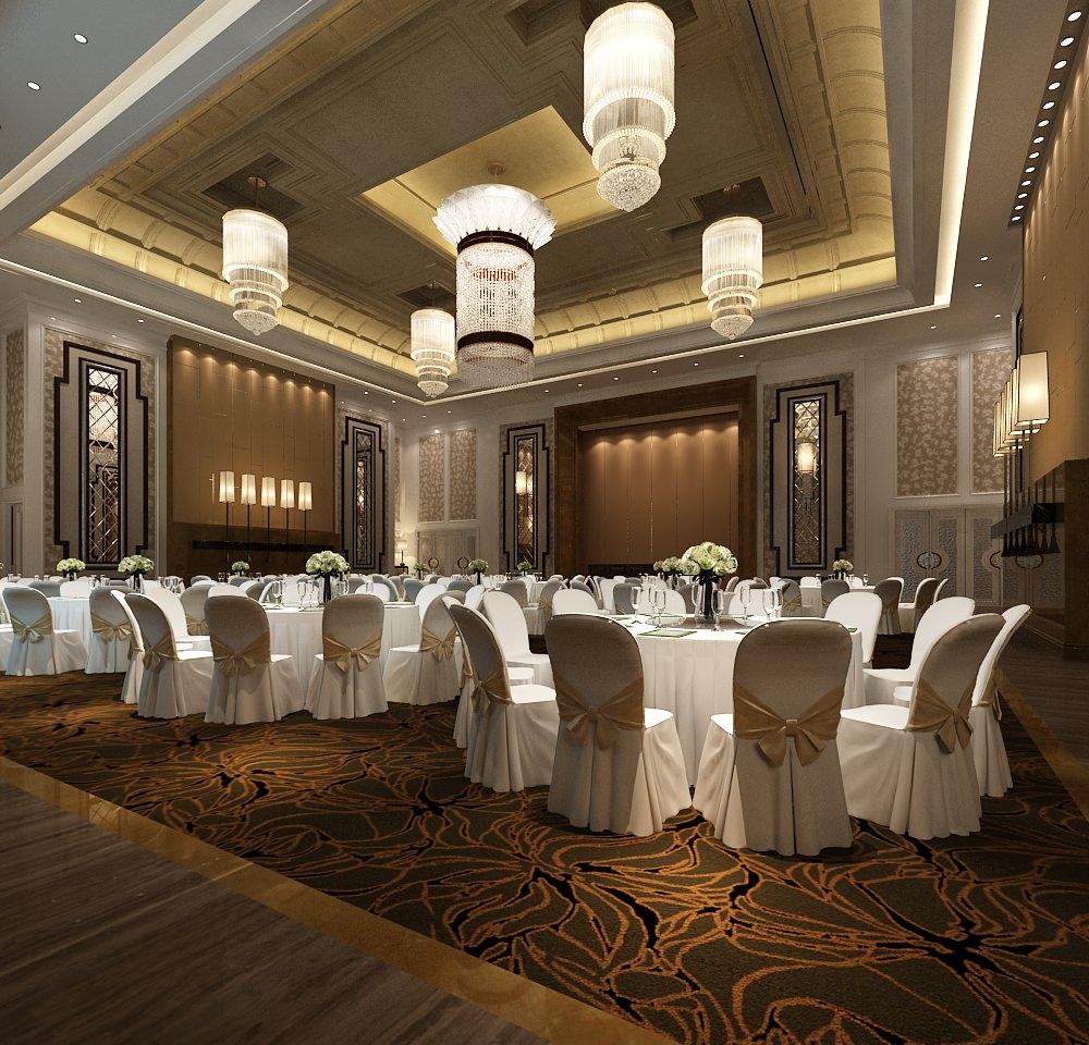 Modern banquet hall 3d model max for Design hotel wedding