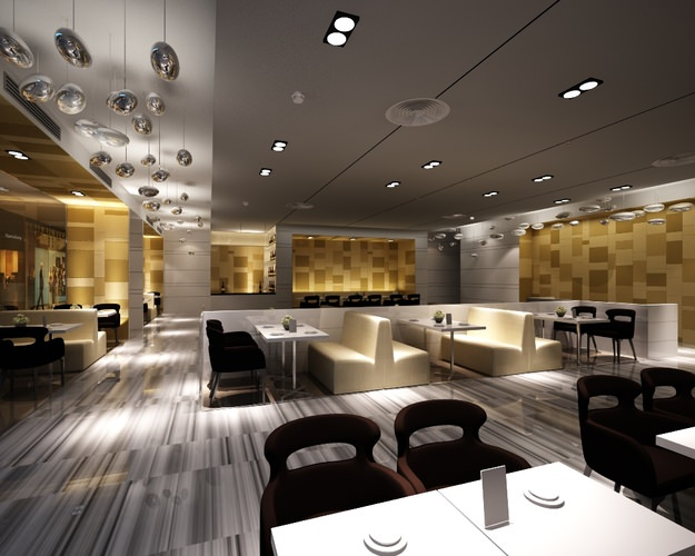 Modern restaurant interior 3d cgtrader for Restaurant moderne