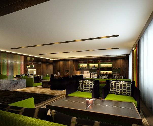 Modern restaurant interior green d cgtrader