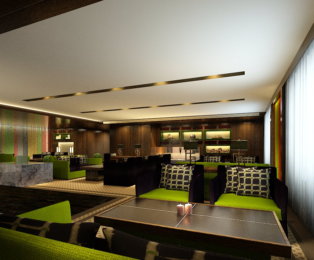 modern restaurant interior green 3d model max