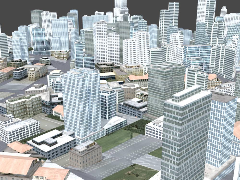 Exterior: 3D Model City Scene VR / AR / Low-poly MAX
