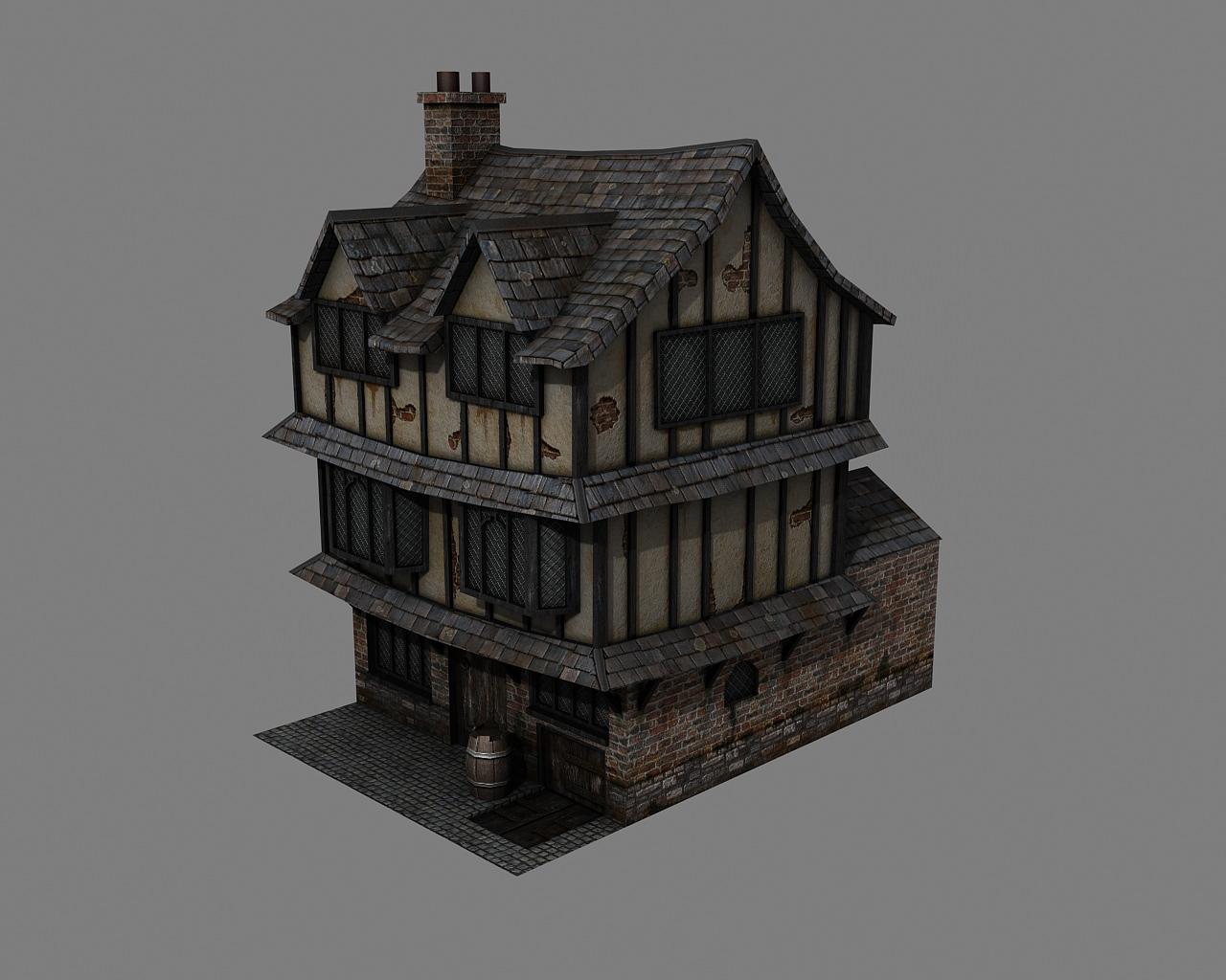 3d Model Tudor House Vr Ar Low Poly Max Obj 3ds Tga