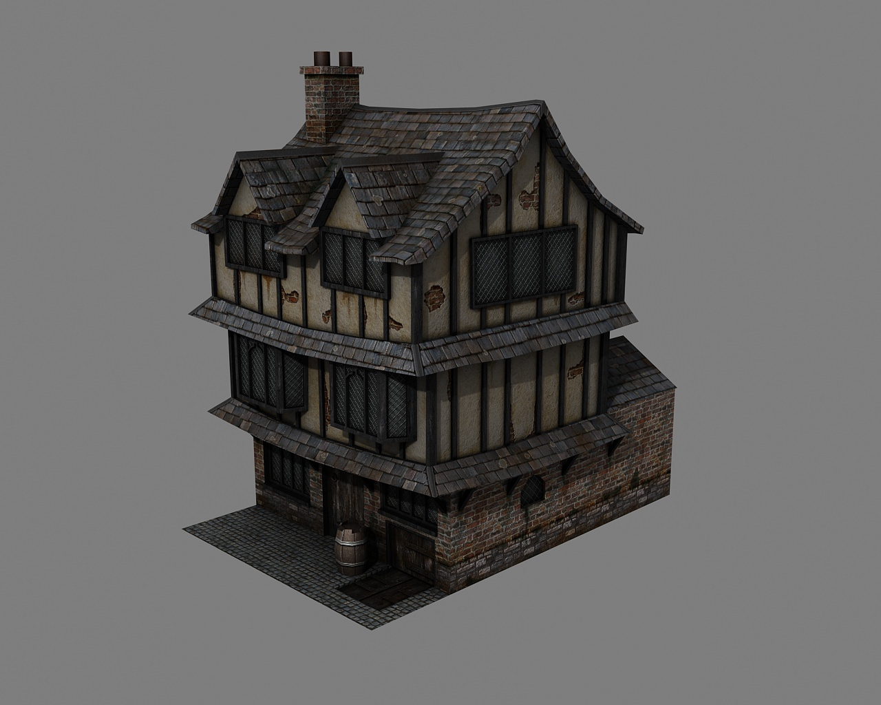 Tudor house 3d model game ready max obj 3ds for Exterior 3d model