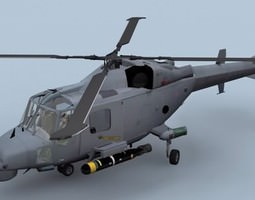 3d model low-poly lynx wildcat aw159 royal navy helicopter