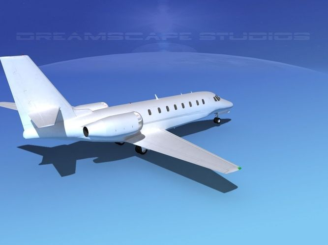 Cessna 680 Citation Sovereign White Livery 3D Model Rigged MAX OBJ 3DS