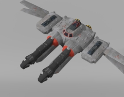 Low-poly space fighter 3D model