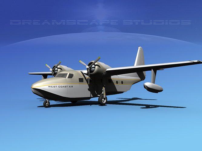grumman g-73 mallard west coast air 3d model max obj mtl 3ds lwo lw lws dxf stl 1