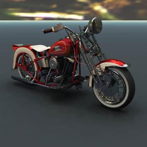 Harley Davidson EL Type 1936 Poser Vue 3D Model rigged VUE PZ3 PP2 : CGTrader.com