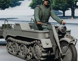 3d model sdkfz 2 kleines kettenkraftrad poser vue rigged