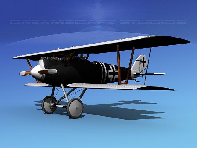 pfalz diii german fighter v06 3d model max obj 3ds lwo lw lws dxf stl 1