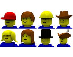 3D Modular Brick Hats and Hair Poser