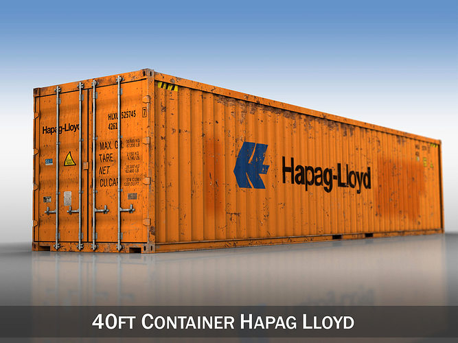 40ft shipping container - hapag lloyd 3d model obj mtl 3ds fbx c4d lwo lw lws 1
