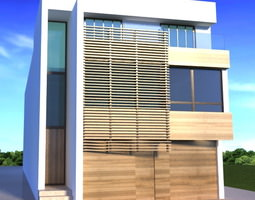 One fasade modern building realistic 3D model