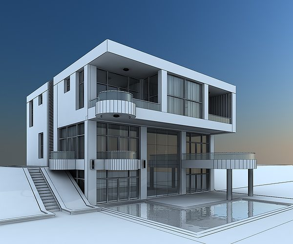 3d model modern villa with balcony cgtrader for Model villa moderne