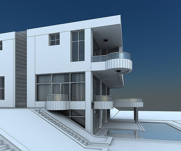 Modern villa with balcony 3d model max for Balcony models