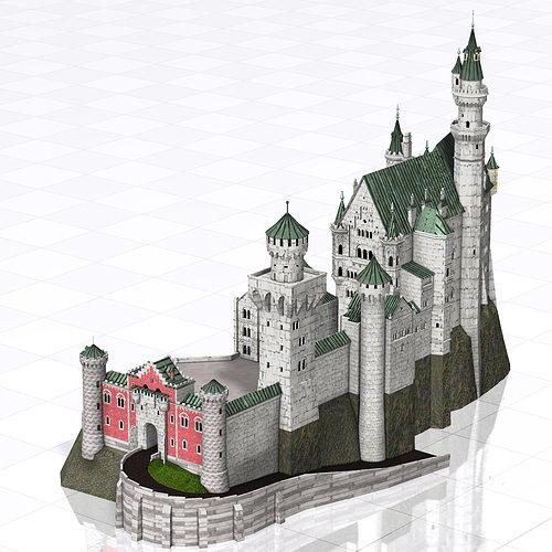 architectural 3d model neuschwanstein castle poser vue. Black Bedroom Furniture Sets. Home Design Ideas