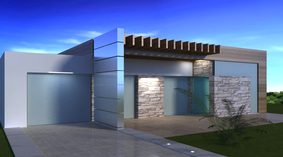 Little modern house free 3d model max 3ds for Contemporary model house
