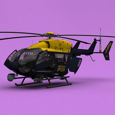 london metropolitan police ec-145 3d model animated max 3ds fbx c4d lwo lw lws ma mb 1