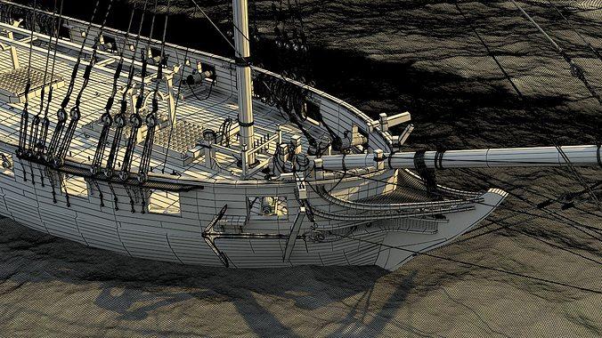 brig sail ship exuberant 3d model max 2