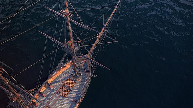 brig sail ship exuberant 3d model max 8