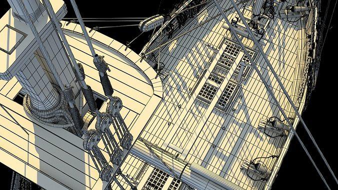 brig sail ship exuberant 3d model max 7