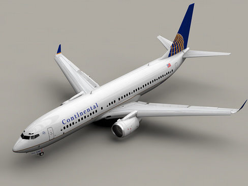 boeing 737-800 continental airlines 3d model animated max obj 3ds lwo lw lws mtl tga 1