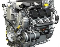 truck diesel engine 3d model obj 3ds c4d lwo lw lws