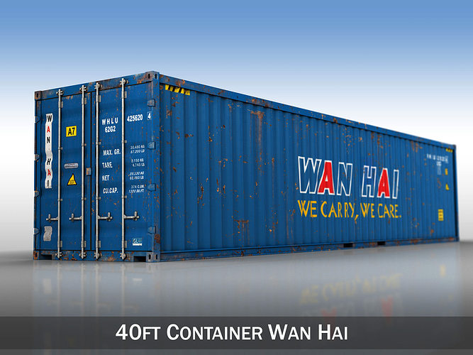40ft shipping container - wan hai 3d model obj 3ds fbx c4d lwo lw lws mtl 1