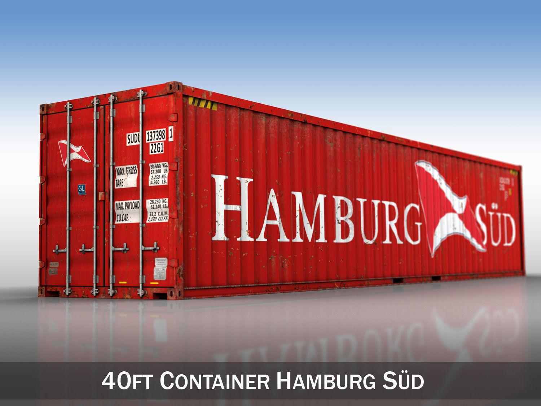 40ft shipping container hamburg sued 3d model obj 3ds fbx c4d lwo lw lws. Black Bedroom Furniture Sets. Home Design Ideas