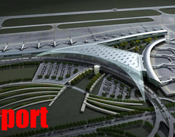 airport with planes and whole infrastructure 3d model