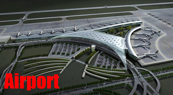 airport with planes and whole infrastructure 3d model max obj 3ds 1