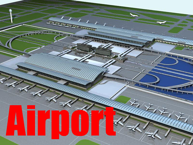 airport with planes and landing strip 3d model max obj mtl 1