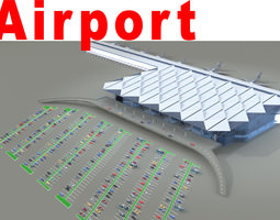 airport with huge parking lot 3d model