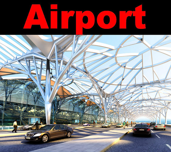 airport with glass roof 3d model max 1