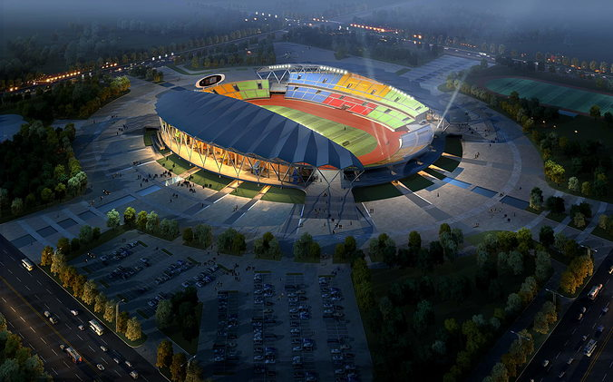 grand stadium 001  olympic size football arena 3d model max obj 3ds 1