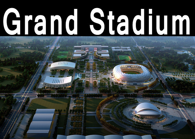 grand stadium 016 olympic size  building complex 3d model max obj 3ds 1