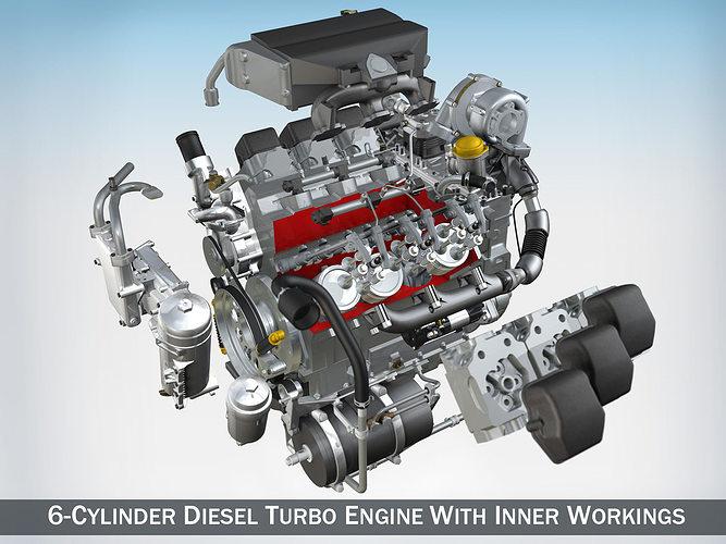 diesel turbo engine with interior parts 3d model obj mtl 3ds fbx c4d lwo lw lws 1