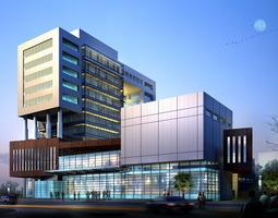 3d modern business center with glass exterior