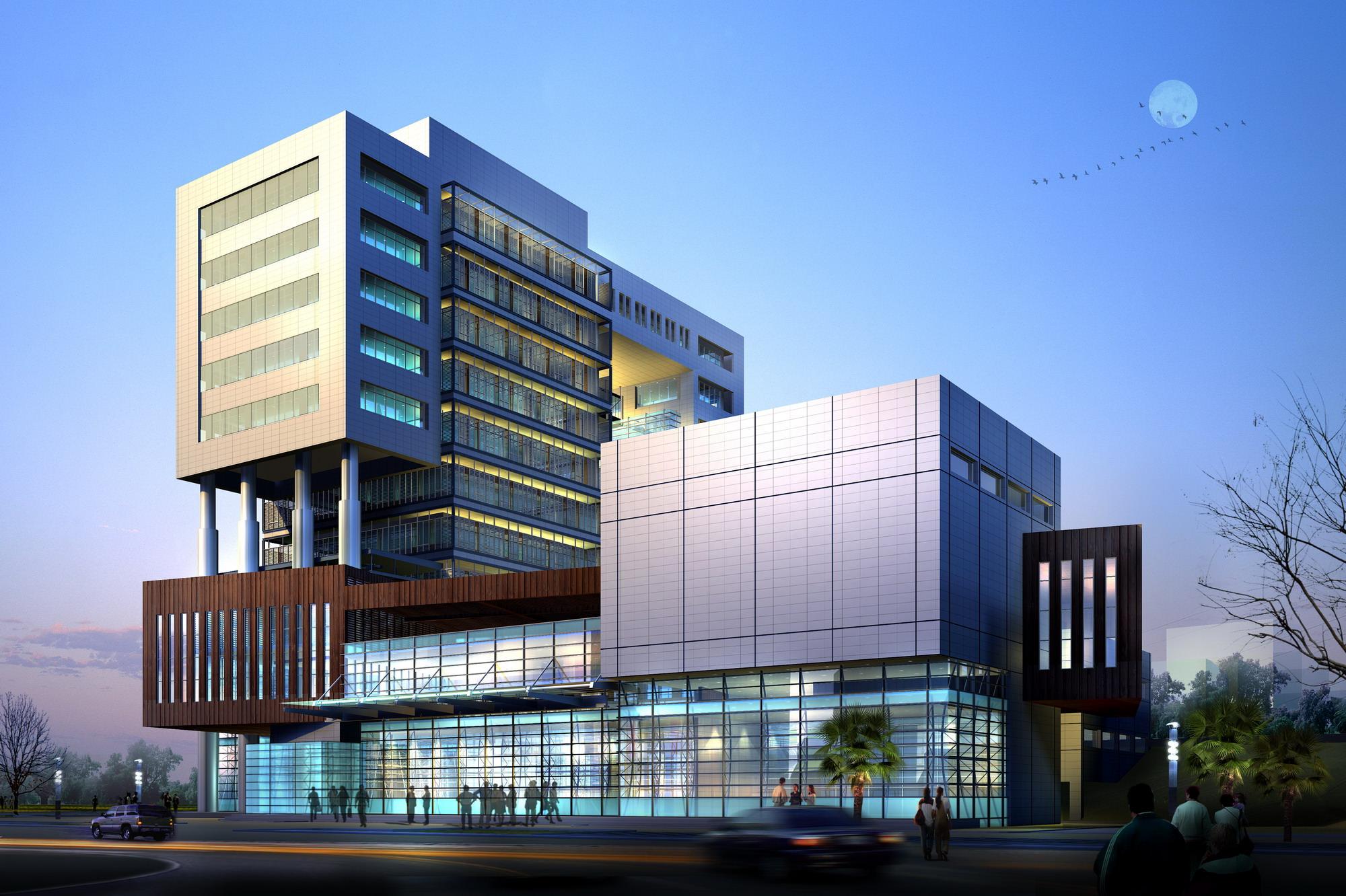 glass exterior modern office. Modern Business Center With Glass Exterior 3d Model Max 1 Office E
