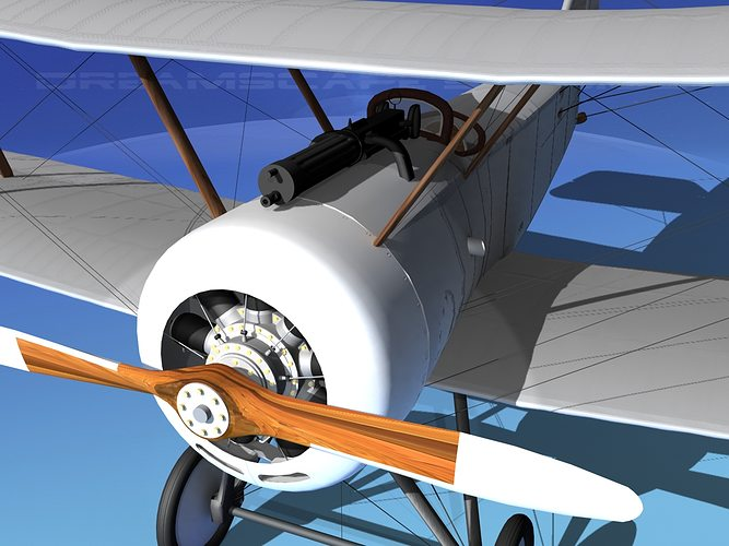 sopwith pup fighter unmarked 3d model rigged max obj 3ds lwo lw lws dxf stl 1