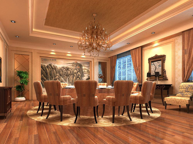 Dining room interior with large painting 3d model max for Large paintings for dining room