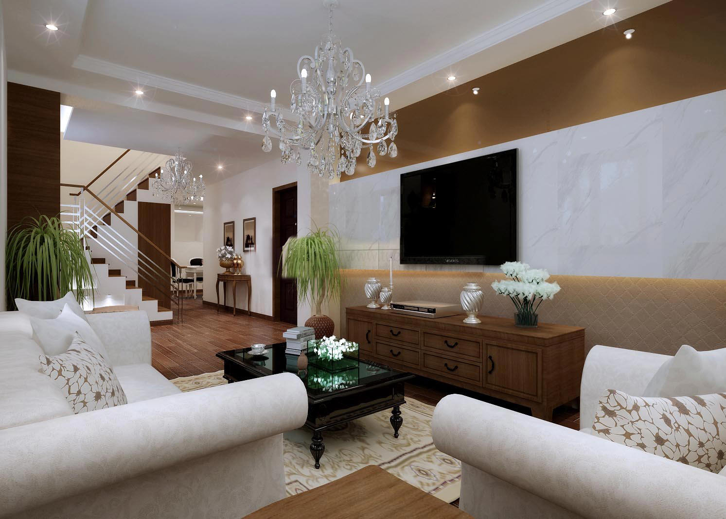 Classy living hall interior with chandelier 3d model max Model home family room pictures