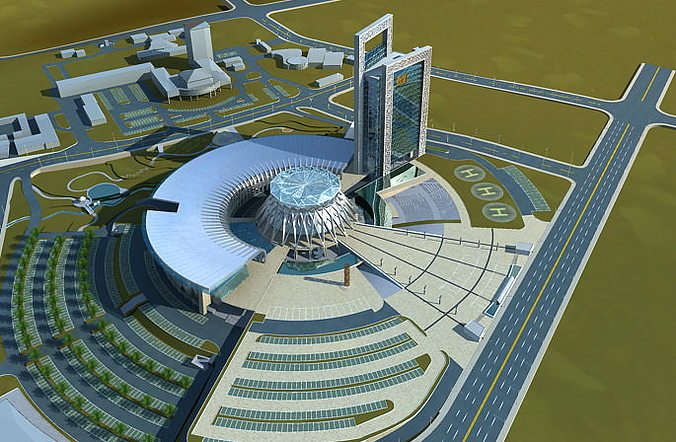 Round Airport Terminal And Runway 3d Cgtrader