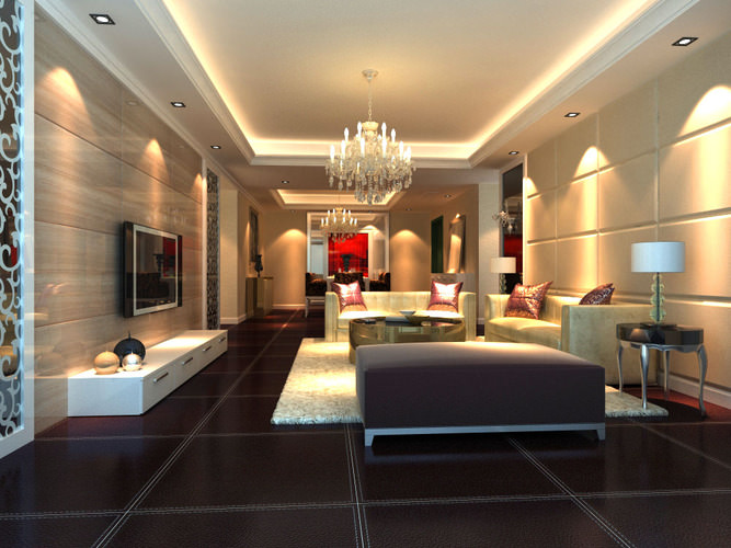 Attractive High End Drawing Room Interior With TV 3D Model